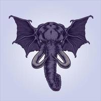 illustration d'éléphant ailé mythique vecteur