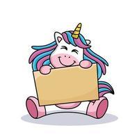 licorne de dessin animé porte une planche avec un doux sourire vecteur