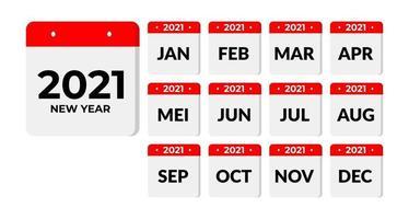12 mois en calendrier 2021 vecteur