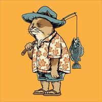 chat pêcheur sur illustration vectorielle de vacances de pêche vecteur
