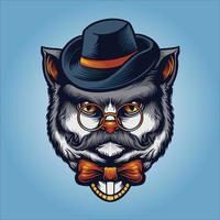 gentleman chat gris avec lunettes, chapeau et moustache vecteur