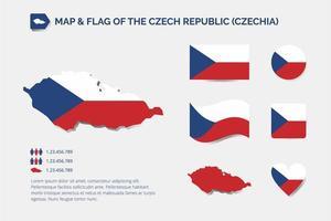 carte et drapeau de la république tchèque vecteur