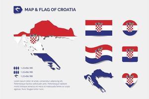 carte et drapeau de la croatie vecteur
