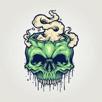 crâne de zombie avec de la fumée vecteur
