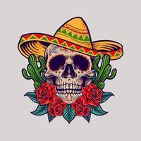 mascotte de crâne mexicain cinco de mayo vecteur
