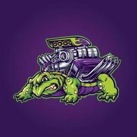 illustration vectorielle animal tortue machine vecteur