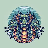 illustration de mascotte de personnage de dragon hydra vecteur