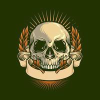 dessin de crâne avec illustration vintage de ruban vecteur