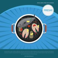 Modèle de publicité de fruits de mer vendredi poisson frit vecteur