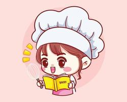 Fille mignonne de chef de boulangerie cuisine et travail au restaurant avec livre de recettes et personnage de dessin animé de louche