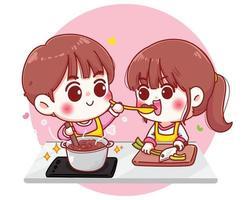 les couples cuisinent dans la cuisine dessin animé illustration dessinée à la main vecteur