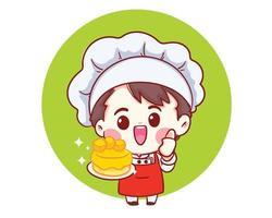 chefs souriants cuisine, tenant le gâteau, illustration d'art de dessin animé de boulangerie vecteur