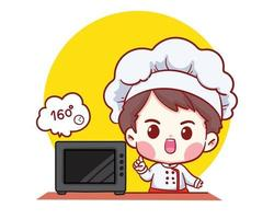 mignon boulangerie chef garçon boulanger dessin animé vector art illustration