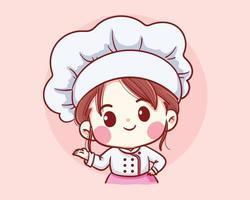 fille mignonne de chef de boulangerie bienvenue souriant illustration de dessin animé vecteur