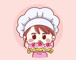 fille souriante tenant une plaque à pâtisserie avec un gâteau fait maison portant un tablier isolé vecteur