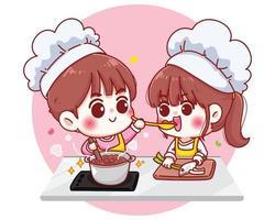 les couples cuisinent dans l & # 39; illustration de personnage de dessin animé de cuisine vecteur