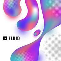 3d abstrait forme fluide colorée avec demi-teinte sur fond blanc. vecteur