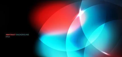 bokeh abstrait flou fond noir cercles avec effet d'éclairage bleu et rouge vecteur