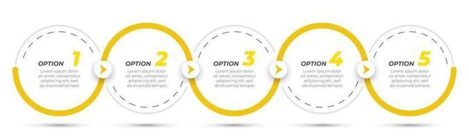 étiquette de conception infographique chronologie avec cercles et flèches. concept d'entreprise avec 5 options ou étapes. peut être utilisé pour le diagramme de flux de travail, les présentations, le tableau d'informations.