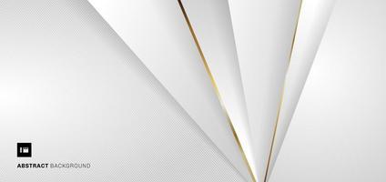 bannière abstraite modèle web triangles géométriques blancs et gris avec ligne dorée métallique sur fond blanc. vecteur