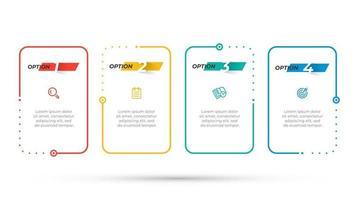 modèle de conception infographique vecteur entreprise avec icône marketing et options de numéro. éléments de processus chronologique avec 4 étapes.
