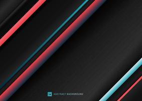 rayures abstraites motif de lignes géométriques diagonales bleu et rouge sur fond noir avec un espace pour votre texte. vecteur