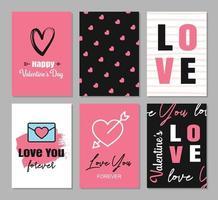 cartes de voeux de la Saint-Valentin avec décoration de coeurs et de symboles pour invitation, flyer, affiches, étiquette, bannière. vecteur