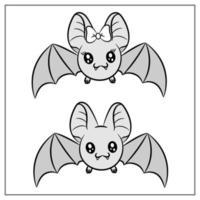 dessin de chauves-souris mignon halloween heureux vecteur