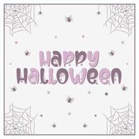 joyeux halloween dessin de texte effrayant et effrayant avec des araignées et web vecteur