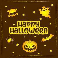 joyeux halloween carte de texte fantasmagorique vecteur