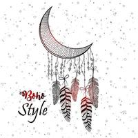 style boho dessiné à la main de décoratif vecteur