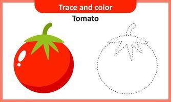 trace et couleur tomate vecteur