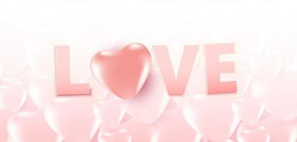 affiche de vente de la Saint-Valentin ou bannière avec beaucoup de coeurs doux et texte d'amour sur fond de coeurs de couleur rose tendre. modèle de promotion et de magasinage pour l'amour et la Saint-Valentin.