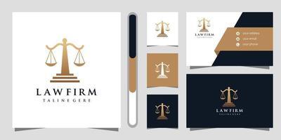 conception de logo de cabinet d'avocats et carte de visite vecteur