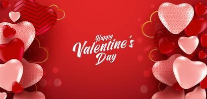 affiche de vente de la Saint-Valentin ou bannière avec de nombreux coeurs doux et sur fond de couleur rouge effet bokeh. modèle de promotion et de magasinage ou pour l'amour et la Saint-Valentin. vecteur