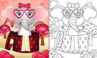 livre de coloriage pour les enfants avec un éléphant mignon dans la boîte-cadeau pour la Saint-Valentin vecteur