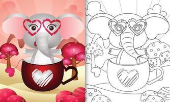 livre de coloriage pour les enfants avec un éléphant mignon dans la tasse pour la Saint-Valentin vecteur
