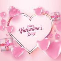 affiche de vente de la Saint-Valentin ou bannière avec de nombreux coeurs doux et coffrets cadeaux sur fond de couleur rose. modèle de promotion et de magasinage ou pour l'amour et la Saint-Valentin.