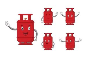 personnage de dessin animé de bouteille de gaz rouge. vecteur