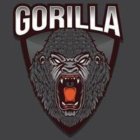 conception de mascotte de gorille en colère animal sauvage vecteur