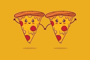 joli couple de pizza souriant heureux.