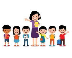 professeur heureux avec des enfants mignons souriant ensemble vecteur