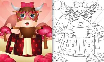 livre de coloriage pour les enfants avec un buffle mignon dans la boîte cadeau pour la Saint-Valentin vecteur