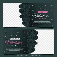 modèle de bannière de bonne Saint-Valentin avec modèle de fond sombre vecteur