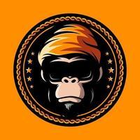 mascotte de singe en lunettes de soleil et bonnet vecteur