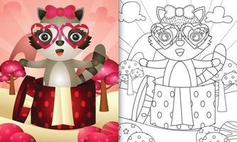 livre de coloriage pour les enfants avec un joli raton laveur dans la boîte cadeau pour la Saint-Valentin vecteur