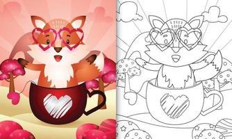 livre de coloriage pour les enfants avec un renard mignon dans la tasse pour la Saint-Valentin vecteur