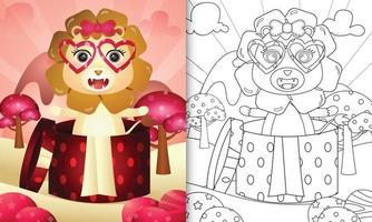 livre de coloriage pour les enfants avec un lion mignon dans la boîte cadeau pour la Saint-Valentin vecteur