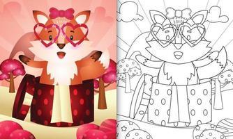livre de coloriage pour les enfants avec un renard mignon dans la boîte-cadeau pour la Saint-Valentin vecteur