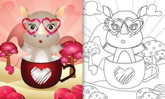 livre de coloriage pour les enfants avec un joli rhinocéros dans la tasse pour la Saint-Valentin vecteur